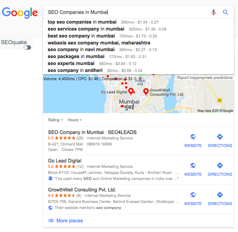 fig0.1-Google Search for SEO Companies in Mumbai + other relevant keywords