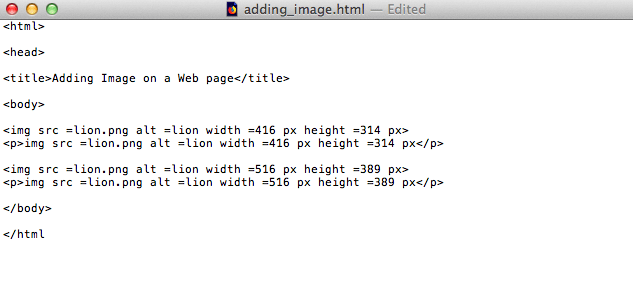 fig 1.7a - Adding two image sizes on a web page