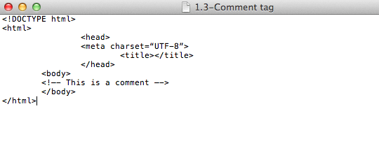fig 1.3 - Introduction to HTML: Comment Tag
