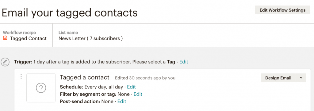 fig 4.4 - MailChimp Automation: Email your tagged contents