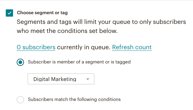 fig 4.6 - Mail Chimp Automation Segment or Tag