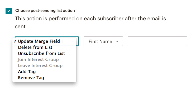 fig 4.7 - Mail Chimp Automation: post-sending list action
