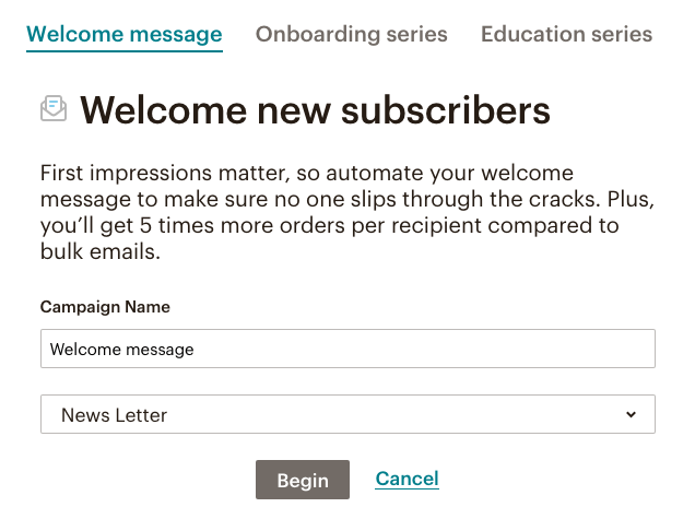 fig 4.8 - Mail Chimp Email Marketing Autoresponder: Welcome new Subscribers