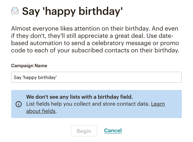 fig 4.9 - MailChimp Automation: Say 'happy birthday'