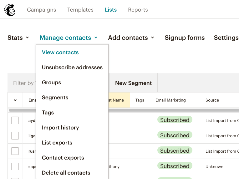 fig 3.3 - Mail Chimp Email Marketing: Manage Contacts