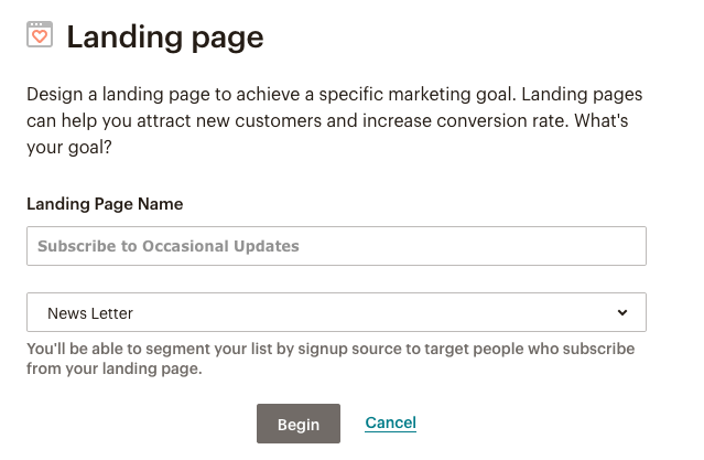 fig 2.1 - Landing page format