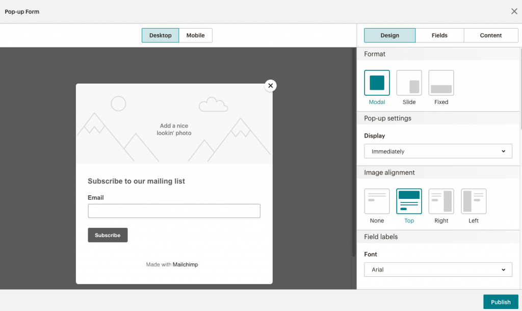 fig 3.7 - Popup form template