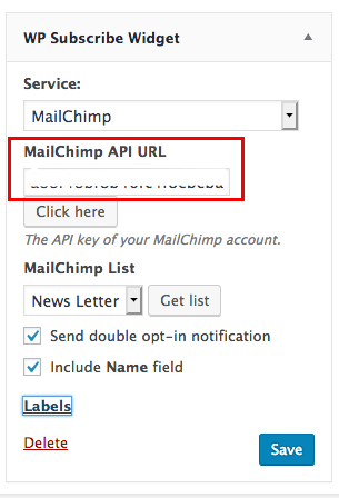 fig 6.3 - MailChimp Integration with WP Subscribe form.