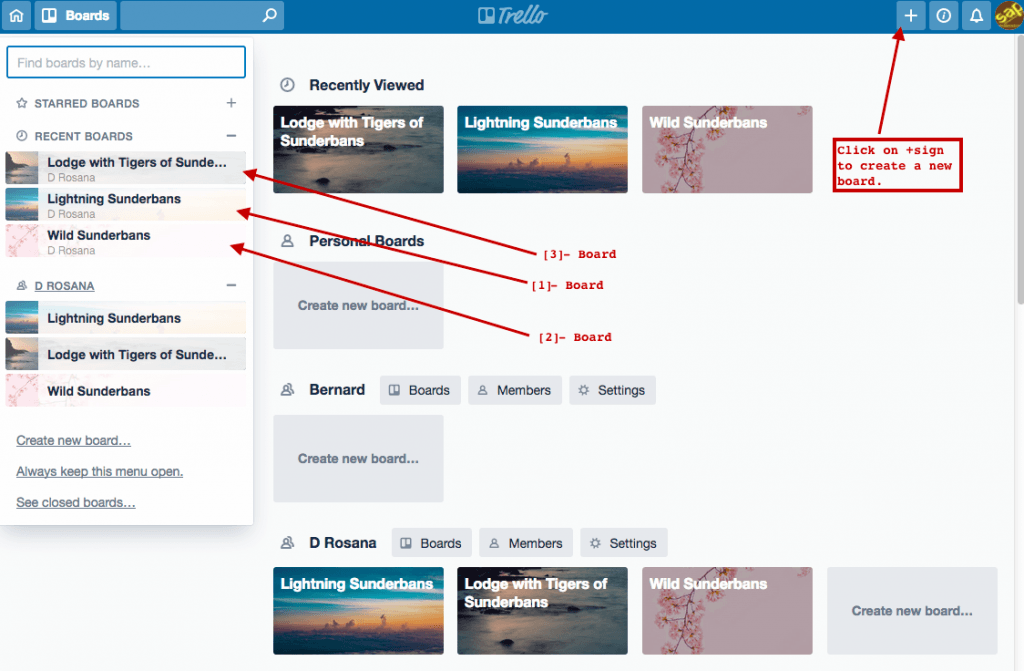 fig 1.1 - Trello for Project Management: Boards