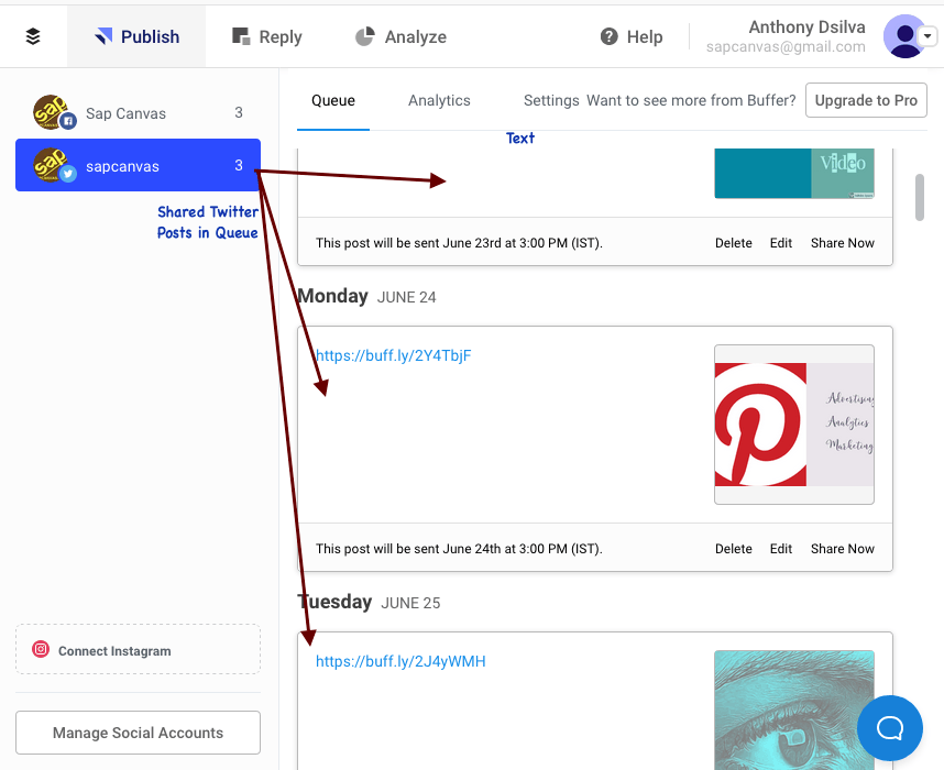 8-Shared Twitter Posts in Queue