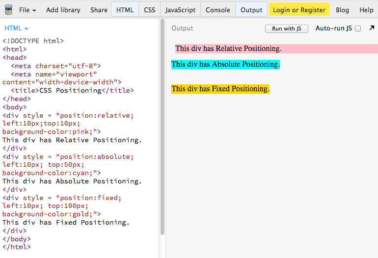 CSS Positioning - Relative, Absolute & Fixed