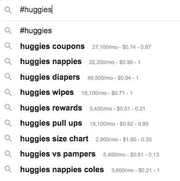 9 - Brand / Campaign hashtag (#huggies) & Keywords